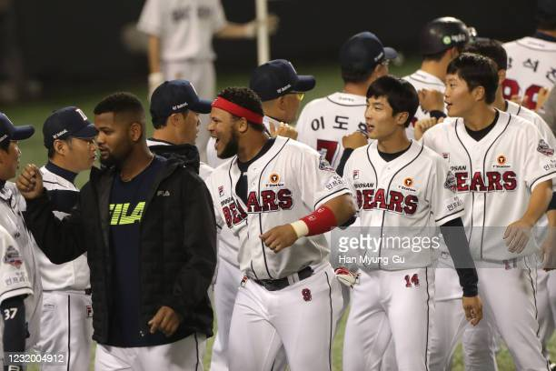 Doosan Bears players celebrate after winning the KBO League game between Lotte Giants and Doosan Bears at the Jamsil Stadium on May 29, 2020 in...