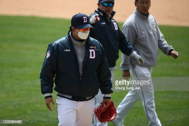 Doosan bears team players practice ahead of the preseason game between LG Twins and Doosan Bears at Jamsil Baseball Stadium on April 21, 2020 in...