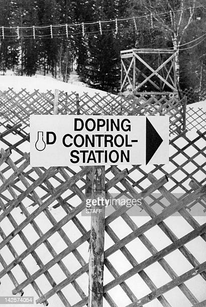 Doping control-station sign is posted 02 February 1976 along one of the cross country skiing venue near Innsbruck, as the city prepares to welcome...