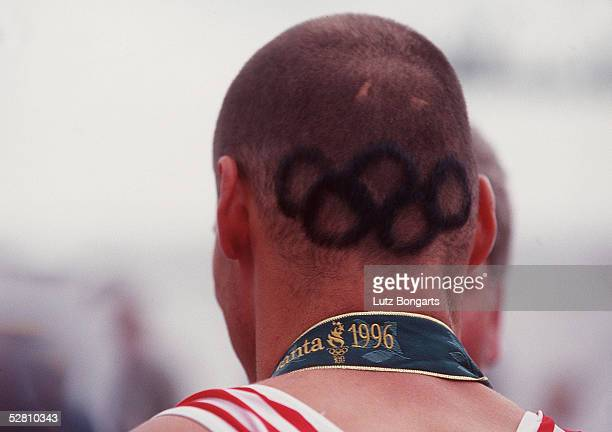 Doppel-Vierer Maenner ATLANTA 1996 am 28.7.96, Andre STEINER/GER GOLD - MEDAILLE mit OLYMPISCHEN RINGEN im HAAR/OLYMPISCHE RINGE