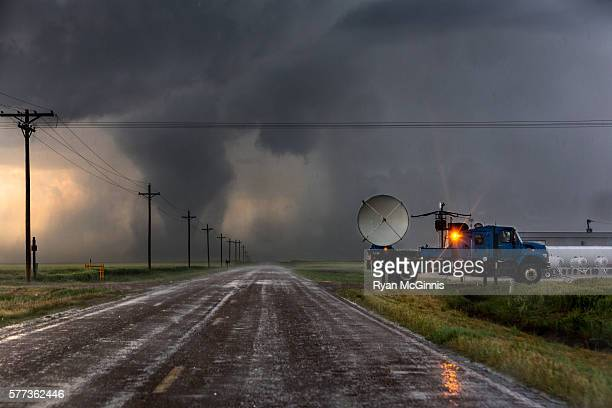 doppler on wheels in front of tornado - meteorology stock pictures, royalty-free photos & images