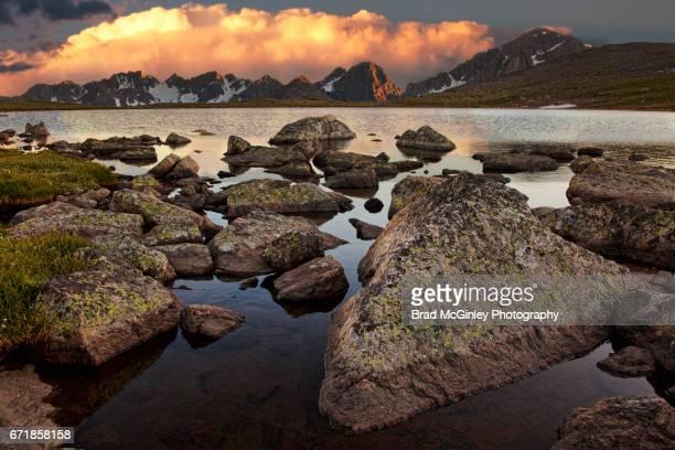 dora lake thunderhead - gore range stock photos and pictures