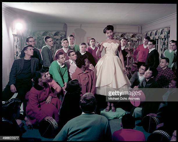 Dora Lee Martin performs at a Fraternity to gather support for the Miss State University of Iowa Pageant and Beauty Contest in Iowa City, Iowa on...