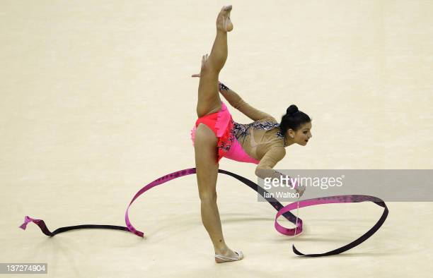 Dora Vass of Hungary in action in the Individual AllAround Final during the FIG Rhythmic Gymnastics at North Greenwich Arena on January 18 2012 in...