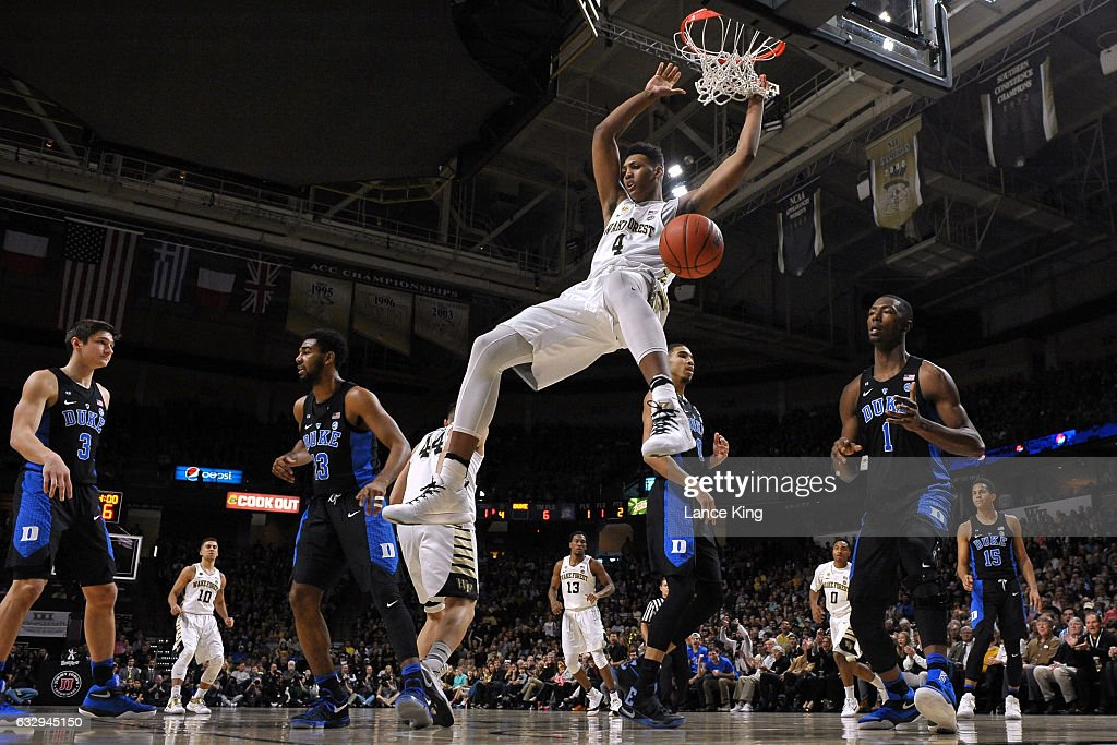 Doral Moore #4 of the Wake Forest Demon Deacons dunks the ball against the Duke Blue Devils at LJVM Coliseum Complex on January 28, 2017 in Winston-Salem, North Carolina.