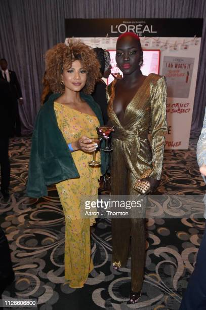 Doralys Britto and Nyakim Gatwech attend the 2019 Essence Black Women in Hollywood Awards Luncheon at Regent Beverly Wilshire Hotel on February 21...