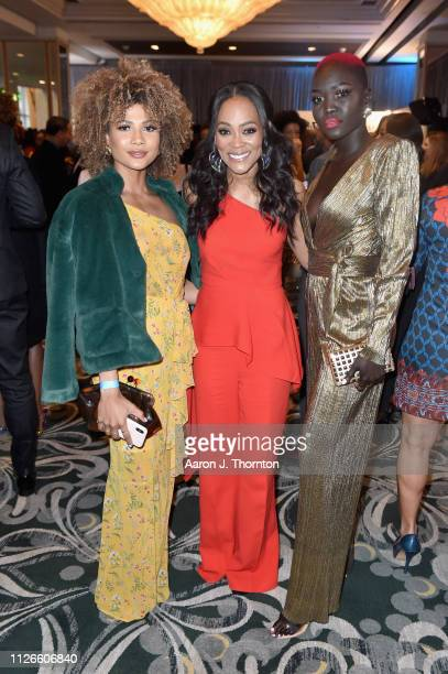 Doralys Britto, Robin Givens and Nyakim Gatwech attend the 2019 Essence Black Women in Hollywood Awards Luncheon at Regent Beverly Wilshire Hotel on...