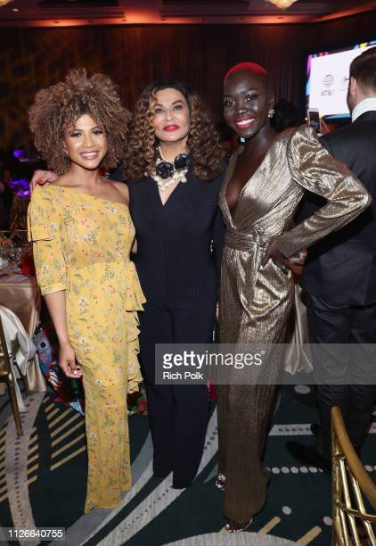 Doralys Britto, Tina Knowles Lawson, and Nyakim Gatwech attend the 2019 Essence Black Women in Hollywood Awards Luncheon at Regent Beverly Wilshire...