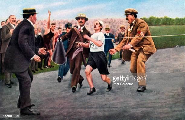 Dorando Pietri finishing the first modern Olympic marathon London 1908 The marathon at the London Olympics of 1908 was run in ususually hot...