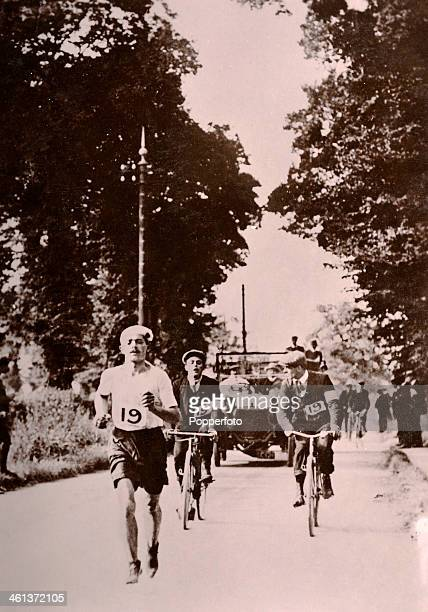 Dorando Pietri of Italy leads the marathon during the Summer Olympic Games in London on 24th July 1908. He was first over the finish line but was...