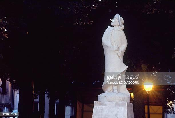 Dordogne, France - Statue of Cyrano de Bergerac in the town of Bergerac.