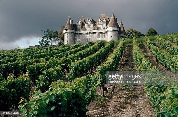 Dordogne France The Monbazillac Chateau surrounded by vineyards