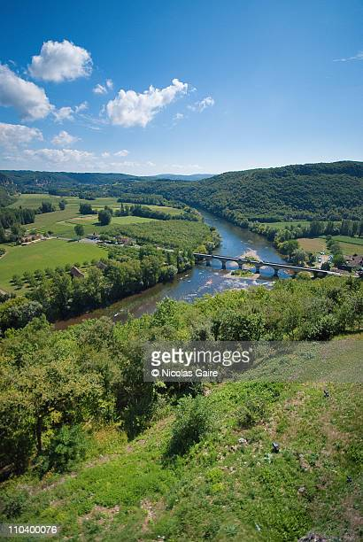 dordogne valley from domme - aquitaine stock photos and pictures