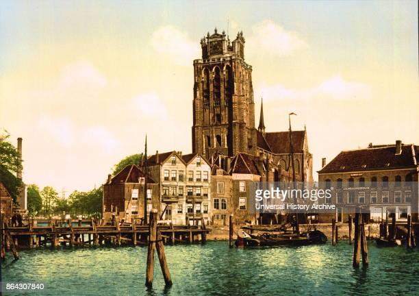 Dordrecht, Holland. Circa 1900. Photomechanical coloured print.