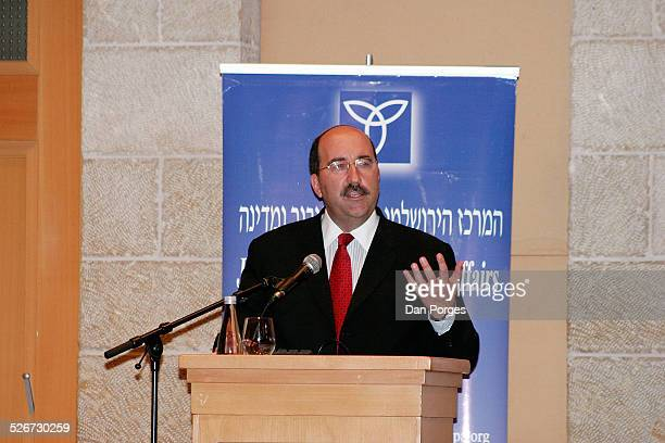 Dore Gold former Israeli ambassador to the UN and head of JPCA speaking at a conference on Israeli security regional diplomacy and international law...