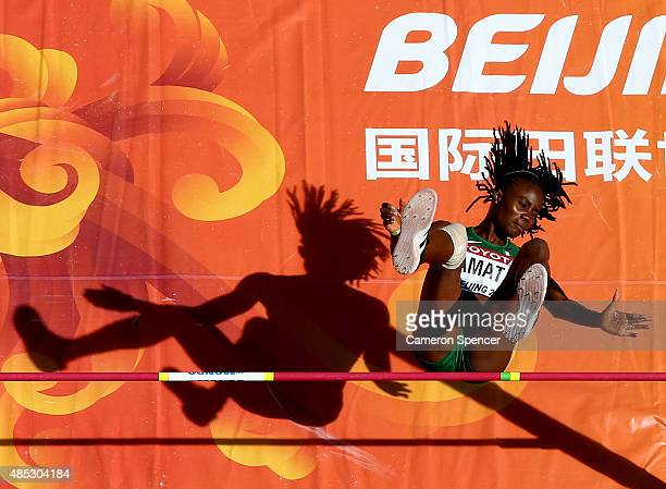 Doreen Amata of Nigeria competes in the Women's High Jump qualification during day six of the 15th IAAF World Athletics Championships Beijing 2015 at...