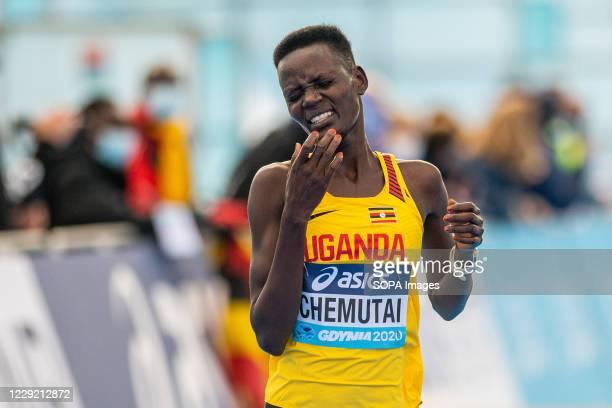 Doreen Chemutai of Uganda in action during 2020 IAAF World Half Marathon Championships in Gdynia
