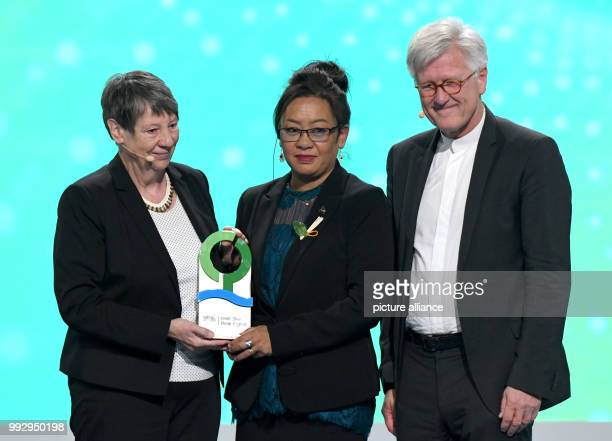 Doreen de Brum daughter of the late foreign minister of the Marshall Islands Tony de Brum receives the honourary award of the German Environment...
