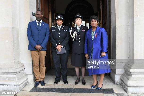 Doreen Delceita Lawrence Baroness Lawrence and her son Stuart with Metropolitan Police Commissioner Cressida Dick and Assistant Commissioner Patrica...