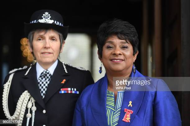 Doreen Delceita Lawrence Baroness Lawrence stands with Metropolitan Police Commissioner Cressida Dick before a memorial service at St...