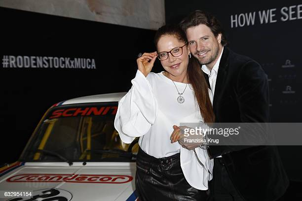 Doreen Dietel and Tobias Guttenberg attend the Rodenstock Exhibition Opening Event at Museum of Urban and Contemporary Art in Munich on January 28...