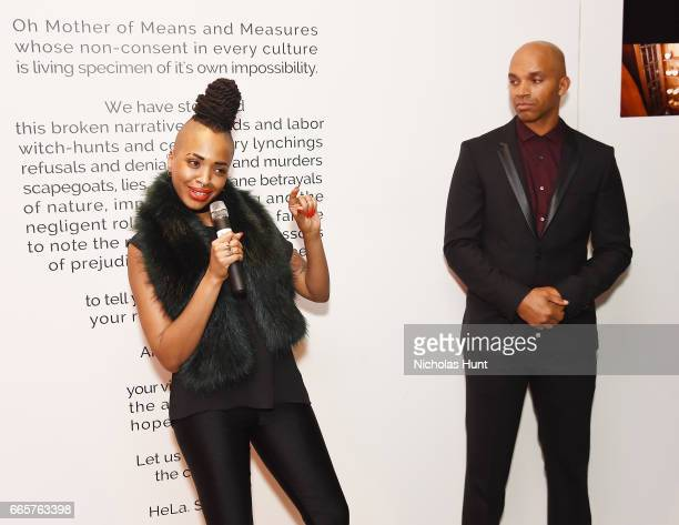 Doreen Garner and Kadir Nelson attend HBO's The HeLa Project Exhibit For The Immortal Life of Henrietta Lacks on April 6 2017 in New York City