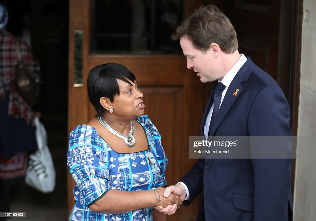 Doreen Lawrence meets with Deputy Prime Minister Nick Clegg at a memorial service for her son Stephen Lawrence at St Martin-in-the-Fields Church on April 22, 2013 in London, England. Stephen Lawrence, a black A-level student was stabbed to death at a bus stop twenty years ago by a gang of white youths in a racially motivated attack in Eltham, south-east London, on April 22, 1993. Two men, Gary Dobson and David Norris were found guilty of his murder in January 2012.