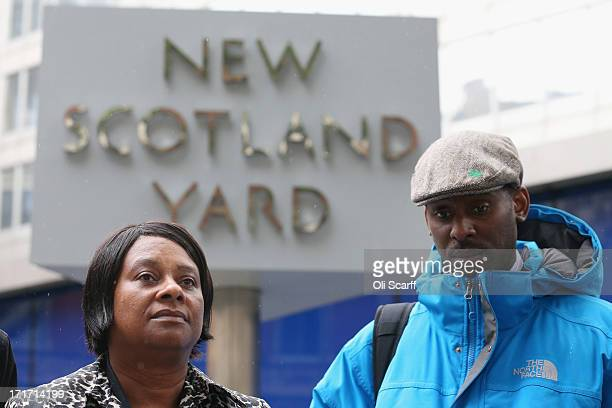Doreen Lawrence the mother of Stephen Lawrence who was murdered in a racist attack in 1993 addresses the media outside New Scotland Yard with her son...