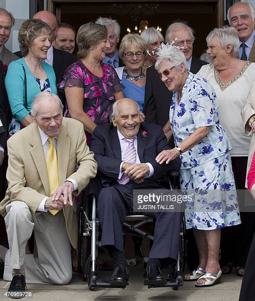 Doreen Luckie aged 91 and George Kirby aged 103 pose for photographers after their wedding ceremony on the steps of the Langham Hotel in Eastbourne...