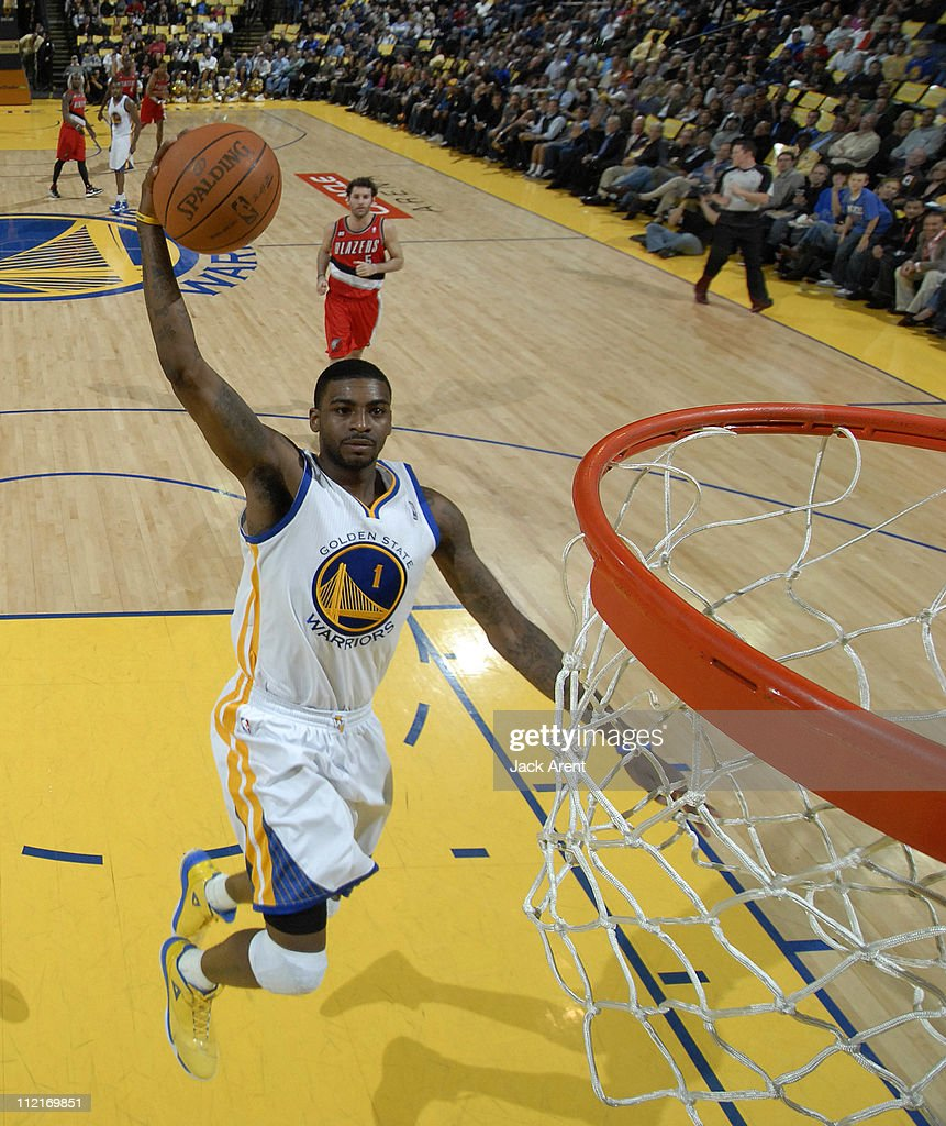 Dorell Wright #1 of the Golden State Warriors dunks against the Portland Trail Blazers on April 13, 2011 at Oracle Arena in Oakland, California.