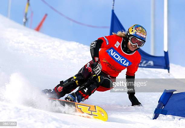 L'ALPE D'HUEZ FRANCE JANUARY 10 Doresia Krings of Austria competes during the FIS World Cup Snowboarding Ladies Giant Slalom event on January 10 2004...