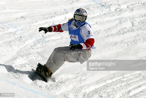 Doresia Krings of Austria competes on her way to victory in the FIS Womens World Cup Snowboardcross Event on October 30 2004 in SaasFee Switzerland
