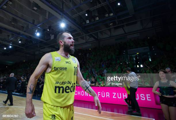 Doreth bastian of medi bayreuth looks on during the easyCredit BBL match between medi bayreuth and EWE Baskets Oldenburg at Oberfrankenhalle on May 5...