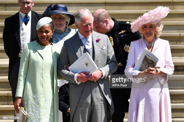 Doria Ragland Prince Charles Prince of Wales and Camilla Duchess of Cornwall leave from the West Door of St George's Chapel Windsor Castle in Windsor...