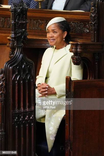 Doria Ragland takes her seat in St George's Chapel at Windsor Castle before the wedding of Prince Harry to Meghan Markle on May 19 2018 in Windsor...