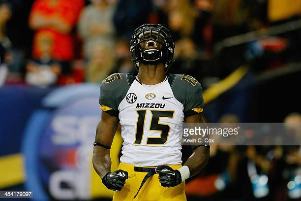 Dorial Green-Beckham of the Missouri Tigers reacts after scoring a touchdown in the first quarter against the Auburn Tigers during the SEC...