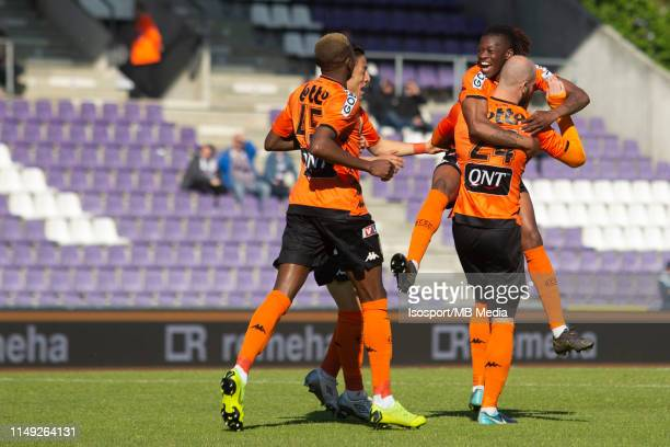 Dorian Dessoleil of Charleroi scores a goal and celebrates with Matias Nurio Fortuna during the Jupiler Pro League playoff 2 group A match between...