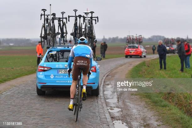 Dorian Godon and Team AG2R La Mondiale / Car / Cobblestones / Drop from Peloton / during the 74th Omloop Het Nieuwsblad 2019 a 200km race from Gent...
