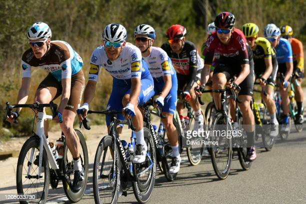 Dorian Godon of France and Team Ag2R La Mondiale / Davide Ballerini of Italy and Team Deceuninck - Quick-Step / James Knox of The United Kingdom and...