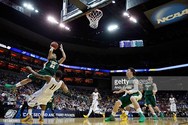 Dorian Green of the Colorado State Rams shoots the ball over Donte Poole of the Murray State Racers during the second round of the 2012 NCAA Men's...