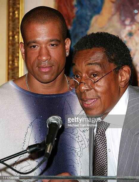Dorian Gregory and Don Cornelius during 10th Annual Soul Train Lady of Soul Nominations at Spago's Restaurant in Beverly Hills California United...