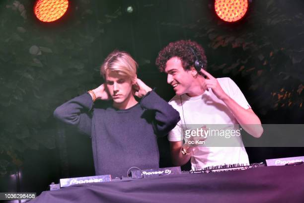 Dorian Lauduique and Cesar Laurent de Rummel from Ofenbach band perform during the Spritz Plazza Party at the 118 Warner on September 19 2018 in...