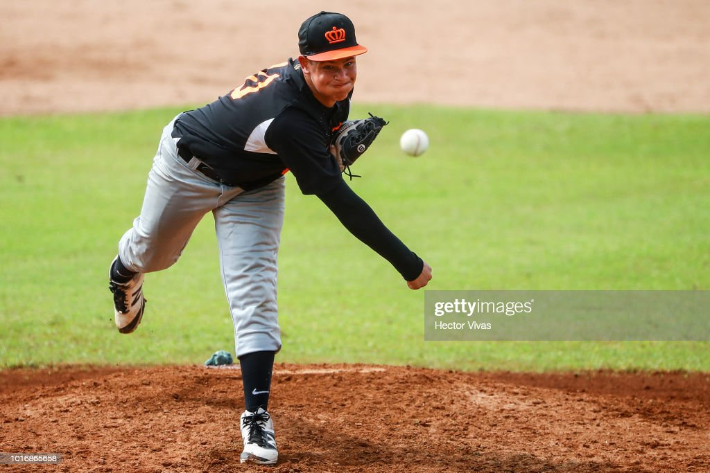 Dorian Lippens #10 of Netherlands pitches during the WBSC U-15 World Cup Group B match between Netherlands and Cuba at Estadio Rico Cedeno on August 10, 2018 in Chitre, Panama.
