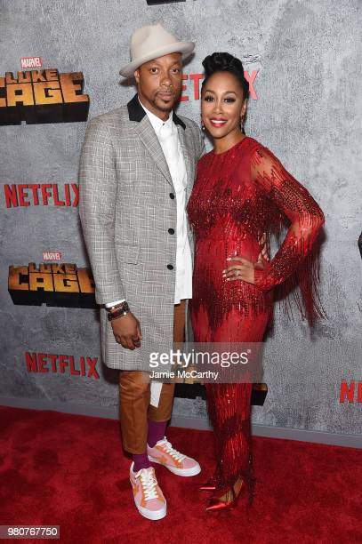 Dorian Missick and Simone Missick attends the 'Luke Cage' Season 2 premiere at The Edison Ballroom on June 21 2018 in New York City