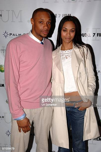 Dorian Missick and Zoe Saladana pose at the party for the film 'Premium' at the Shore Club on March 11 2006 in Miami Beach Florida