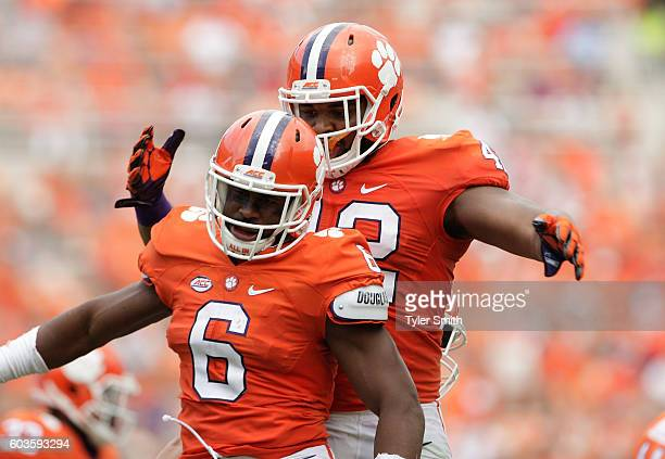 Dorian O'Daniel of the Clemson Tigers reacts after a play during the game against the Troy Trojans at Memorial Stadium on September 10 2016 in...