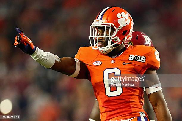 Dorian O'Daniel of the Clemson Tigers reacts to a play in the third quarter during the 2016 College Football Playoff National Championship Game at...