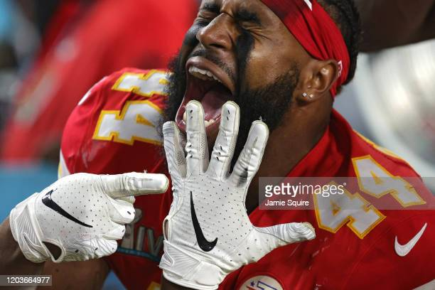 Dorian O'Daniel of the Kansas City Chiefs celebrates after defeating the San Francisco 49ers in Super Bowl LIV at Hard Rock Stadium on February 02...