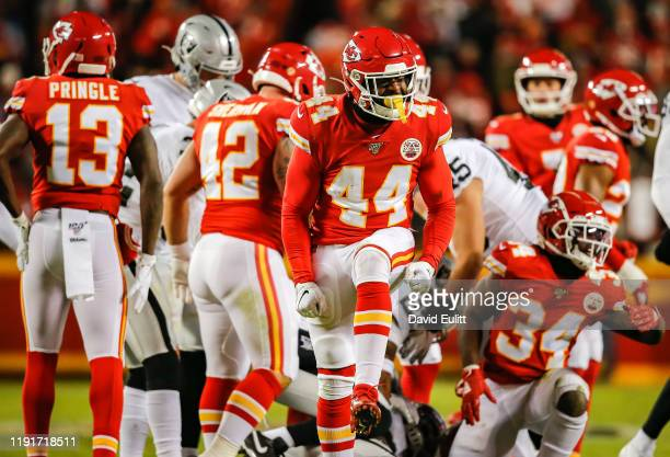Dorian O'Daniel of the Kansas City Chiefs reacts after his tackle in the third quarter on a kickoff return against the Oakland Raiders at Arrowhead...