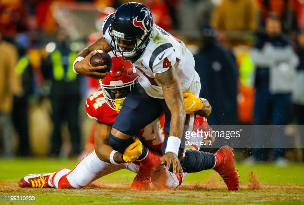 Dorian O'Daniel of the Kansas City Chiefs sacks Deshaun Watson of the Houston Texans during the fourth quarter of the AFC Divisional playoff game at...